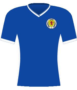 Niebieska koszulka reprezentacji Szkocji kobiet z 2018 roku.
