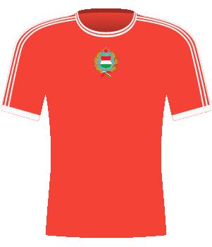 Czerwona koszulka reprezentacji Węgier z eliminacji ME 1988.