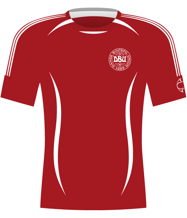 Czerwona koszulka Danii z 2006 roku.