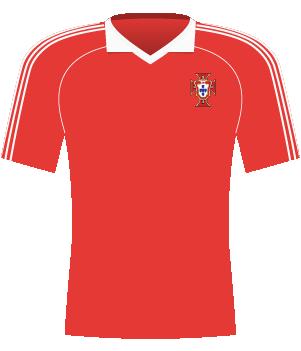 Czerwona koszulka Portugalii z eliminacji mistrzostw Europy 1984.