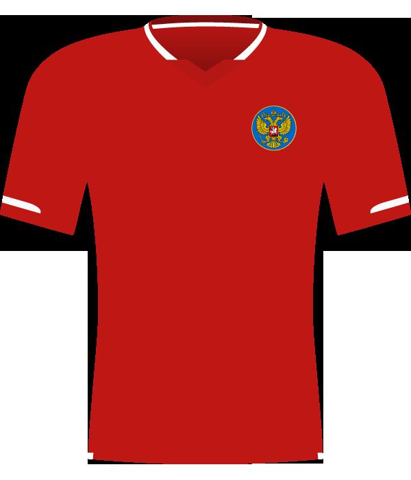 Czerwona koszulka reprezentacji Rosji z 2007 roku.