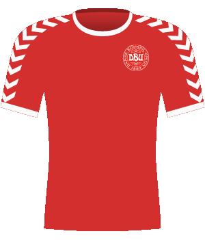 Czerwona koszulka Danii z 2002 roku.