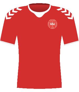 Czerwona koszulka Danii z 2017 roku.