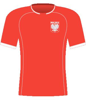 Czerwona koszulka Polski z 2004 roku.