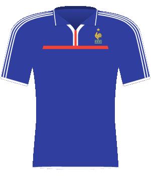 Niebieska koszulka Francji z 2000 roku.