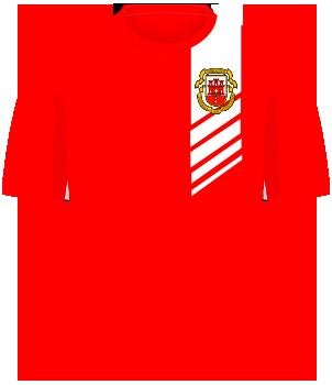 Czerwona koszulka reprezentacji Gibraltaru w meczu z Polską w Faro.