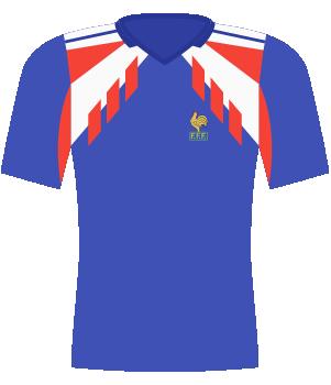 Koszulka Francji z 1990 i 1991 roku.