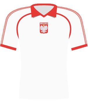 Koszulka reprezentacji Polski z 1990 roku.