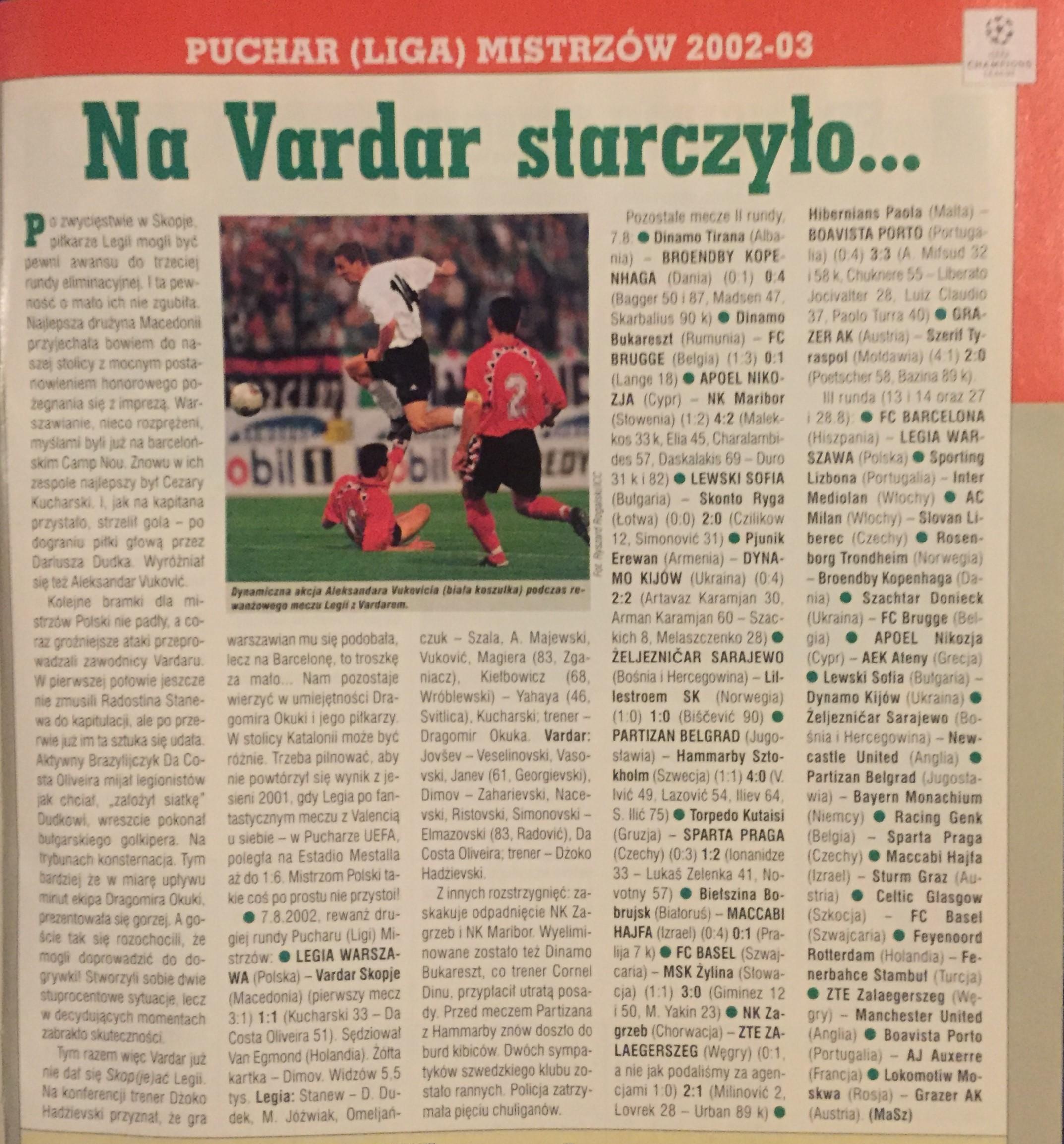 Piłka Nożna po meczu Legia - Vardar 1:1 (07.08.2002)