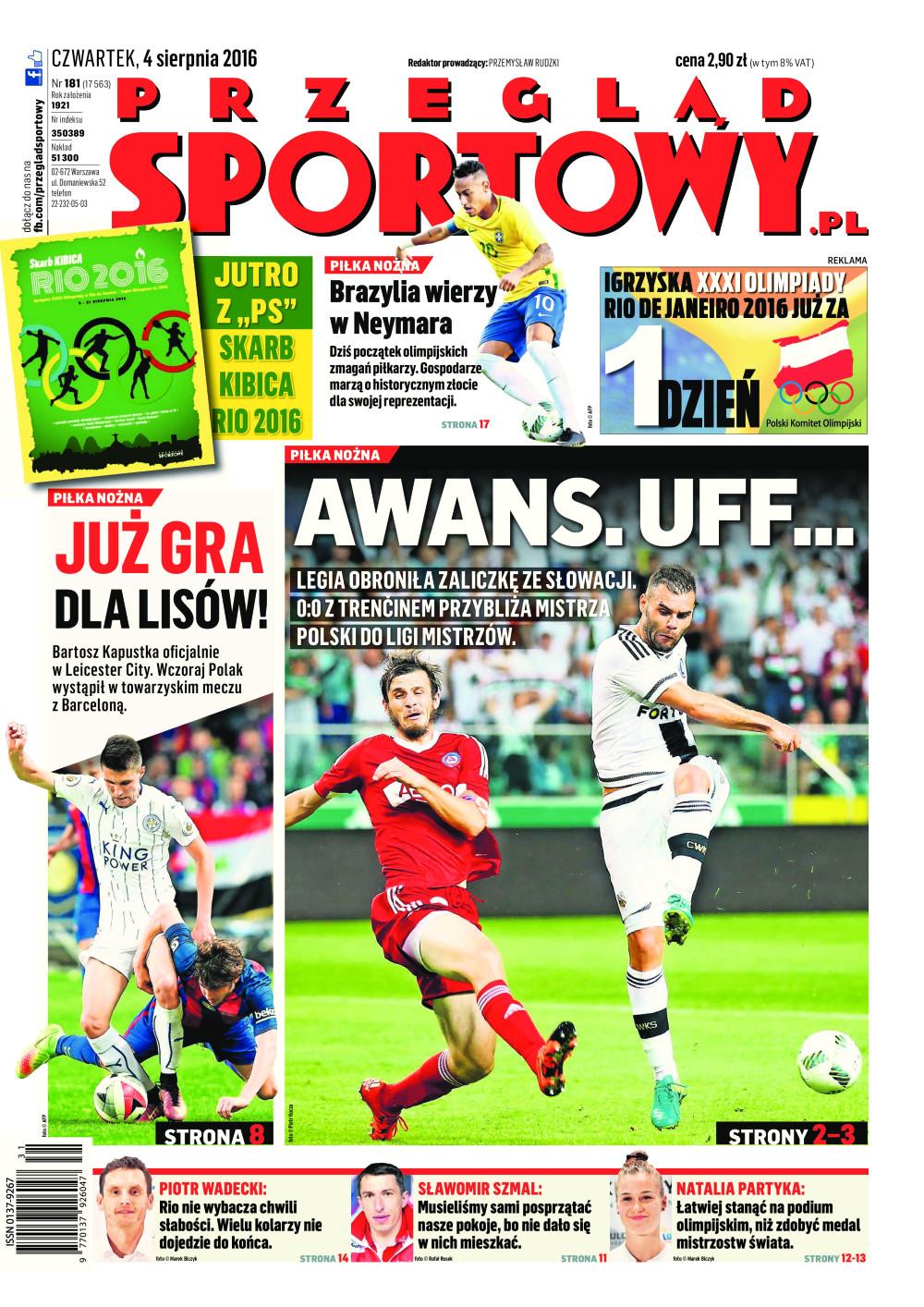 Okładka Przegląd Sportowy po meczu Legia Warszawa – AS Trenčín 0:0 (03.08.2016)