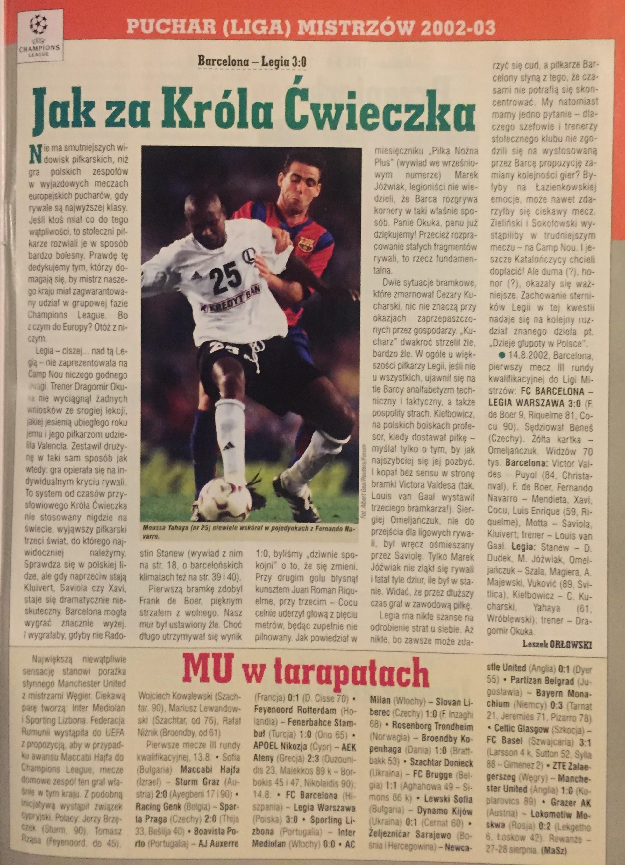Piłka Nożna po meczu FC Barcelona - Legia Warszawa 3-0 (14.08.2002).