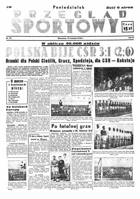 Przegląd Sportowy po meczu Polska - Czechosłowacja 3:1 (19.04.1948)