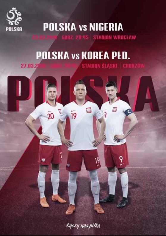Program meczowy Polska - Nigeria 0:1 (23.03.2018) i Polska - Korea Płd. 3:2 (27.03.2018)
