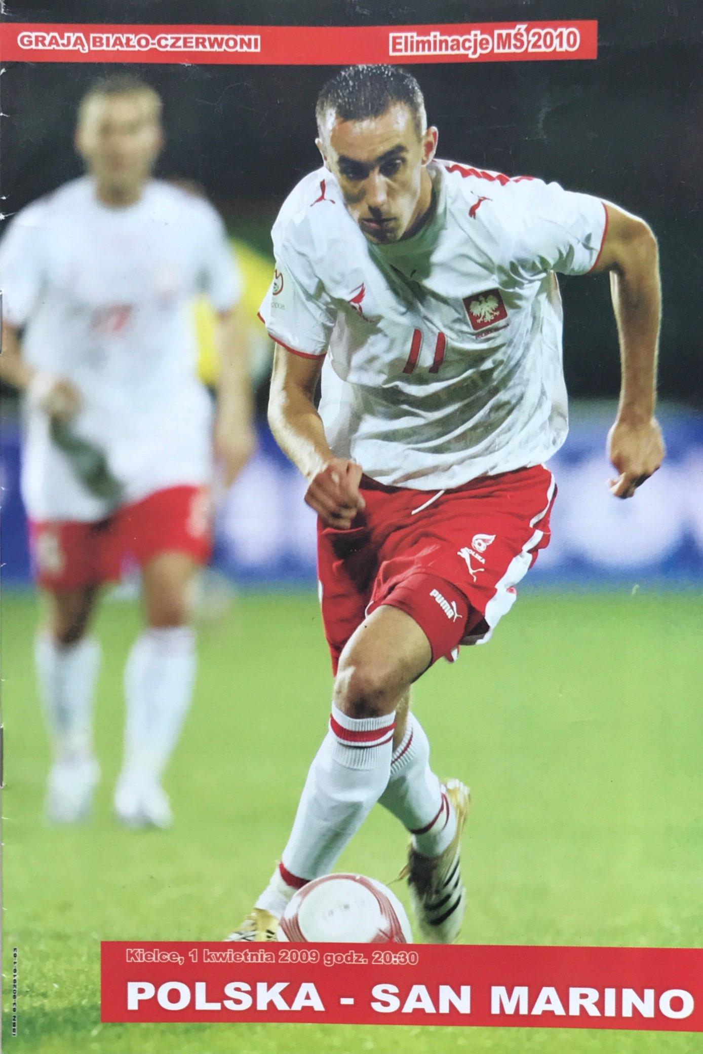 Program meczowy Polska - San Marino 10:0 (01.04.2009).
