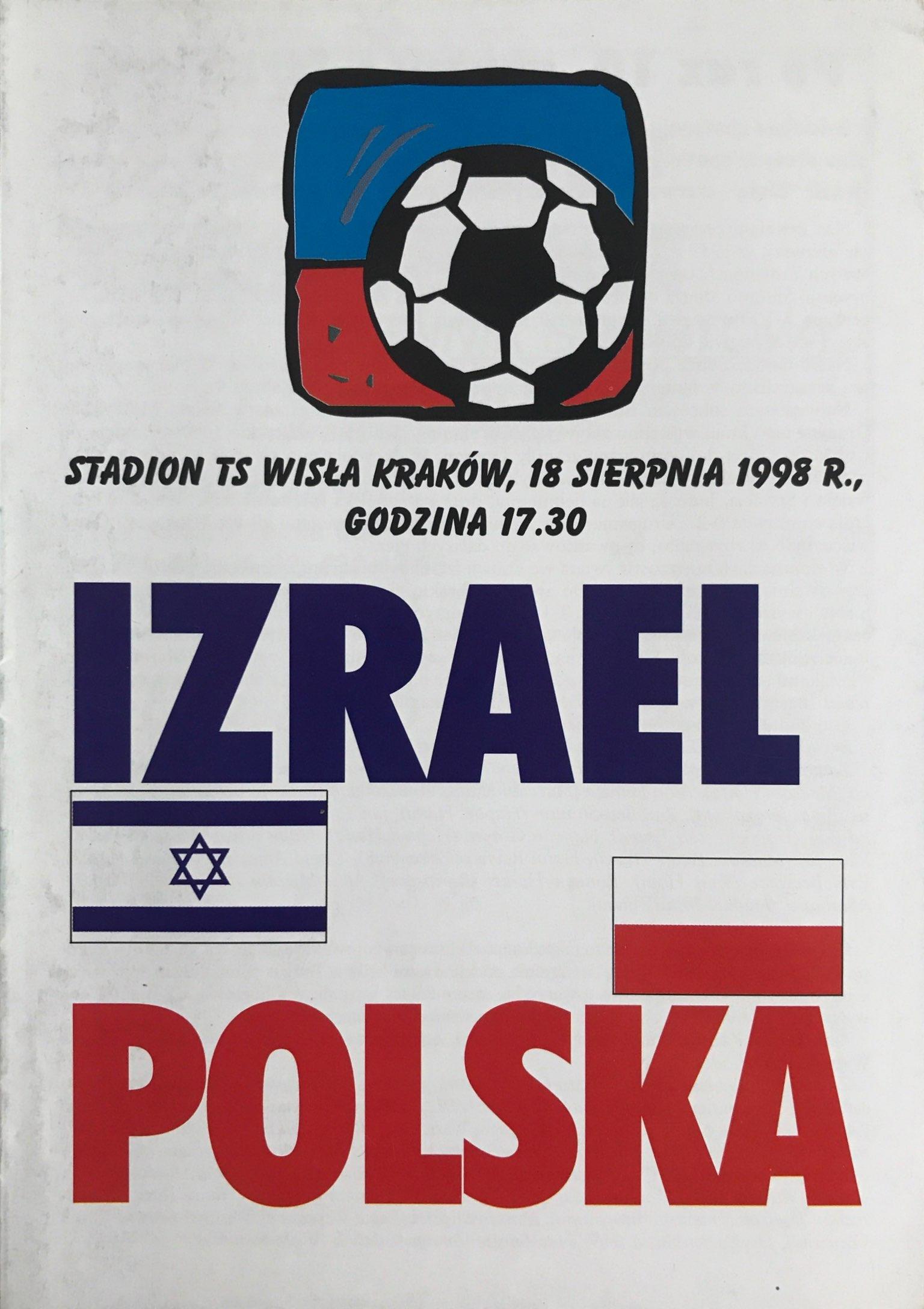Program meczowy Polska - Izrael 2:0 (18.08.1998).