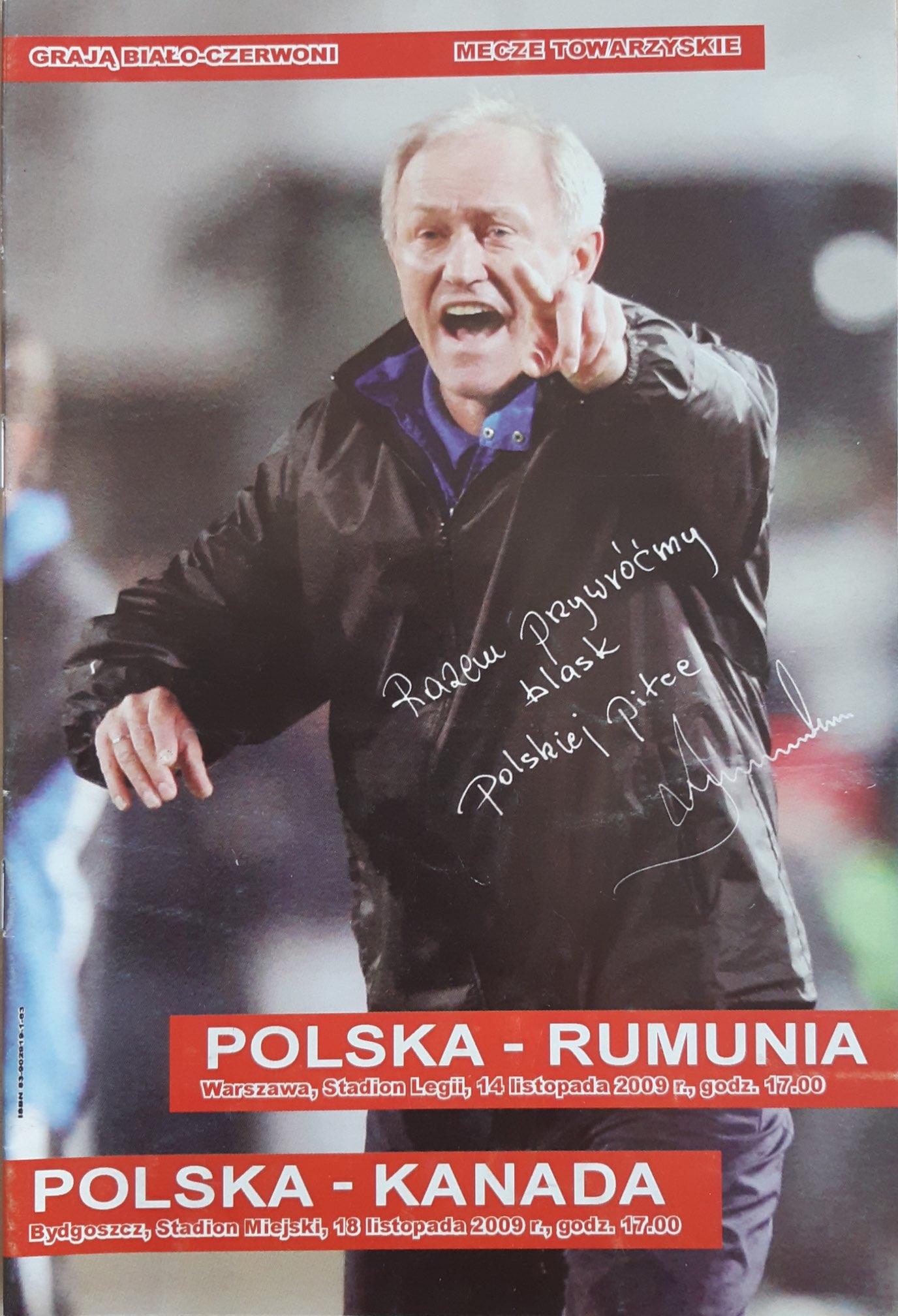 Program meczowy Polska - Rumunia 0:1 (14.11.2009) i Polska - Kanada 1:0 (18.11.2009)