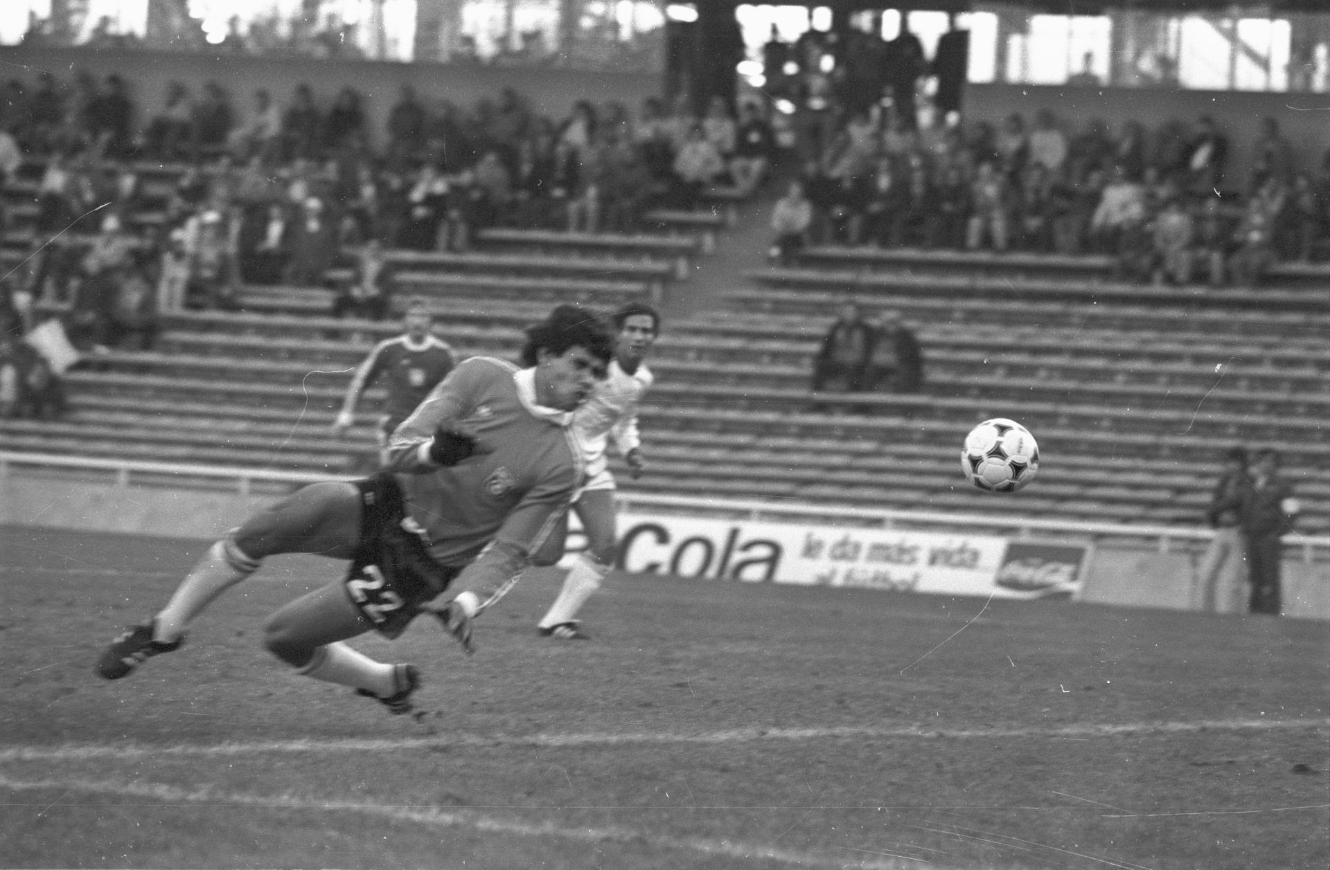 Piłka mija interweniującego bramkarza Tunezji Mokhtara Nailiego.
