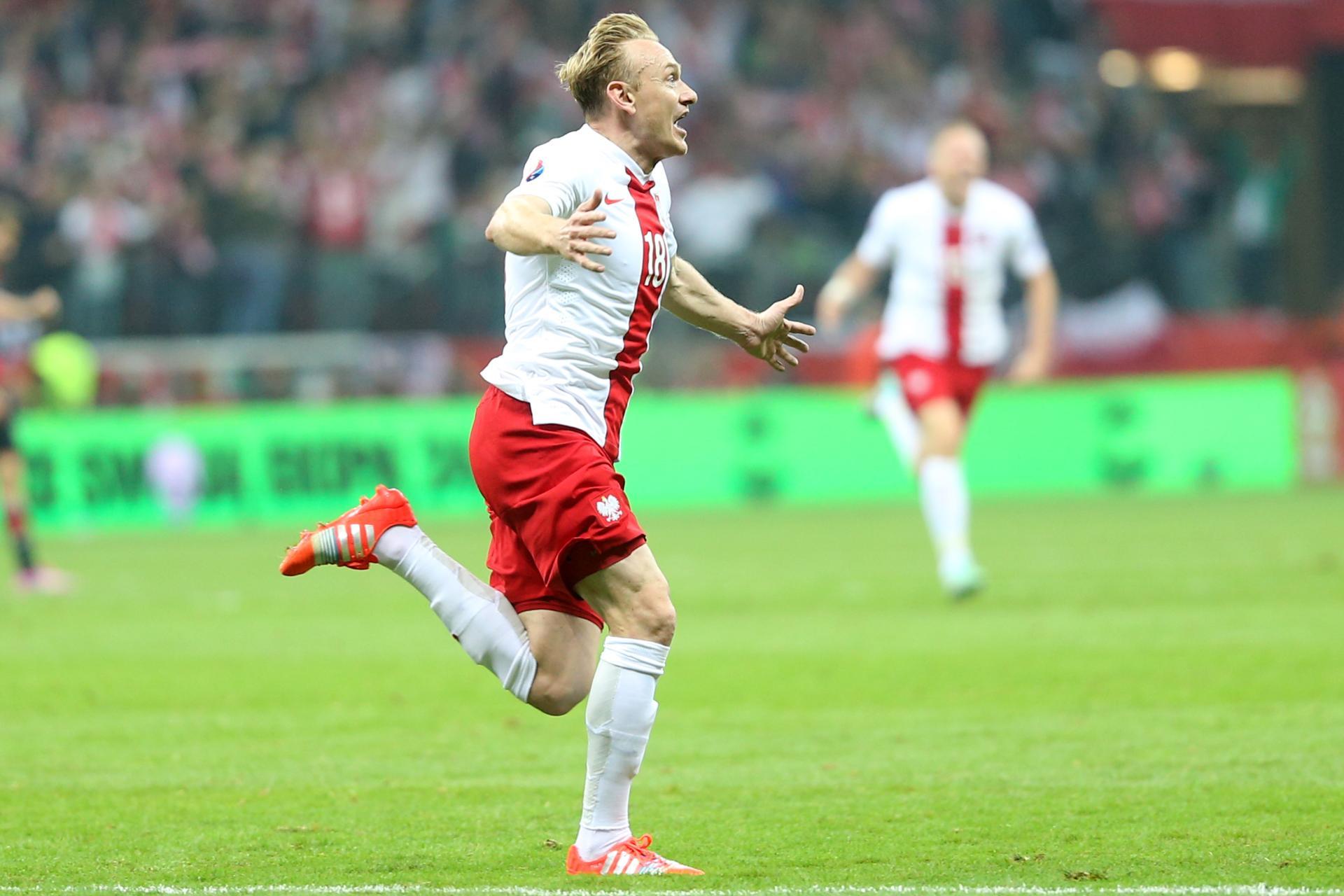 Szalona radość Sebastiana Mili, który zdobył właśnie bramkę na 2:0 dla Polski.