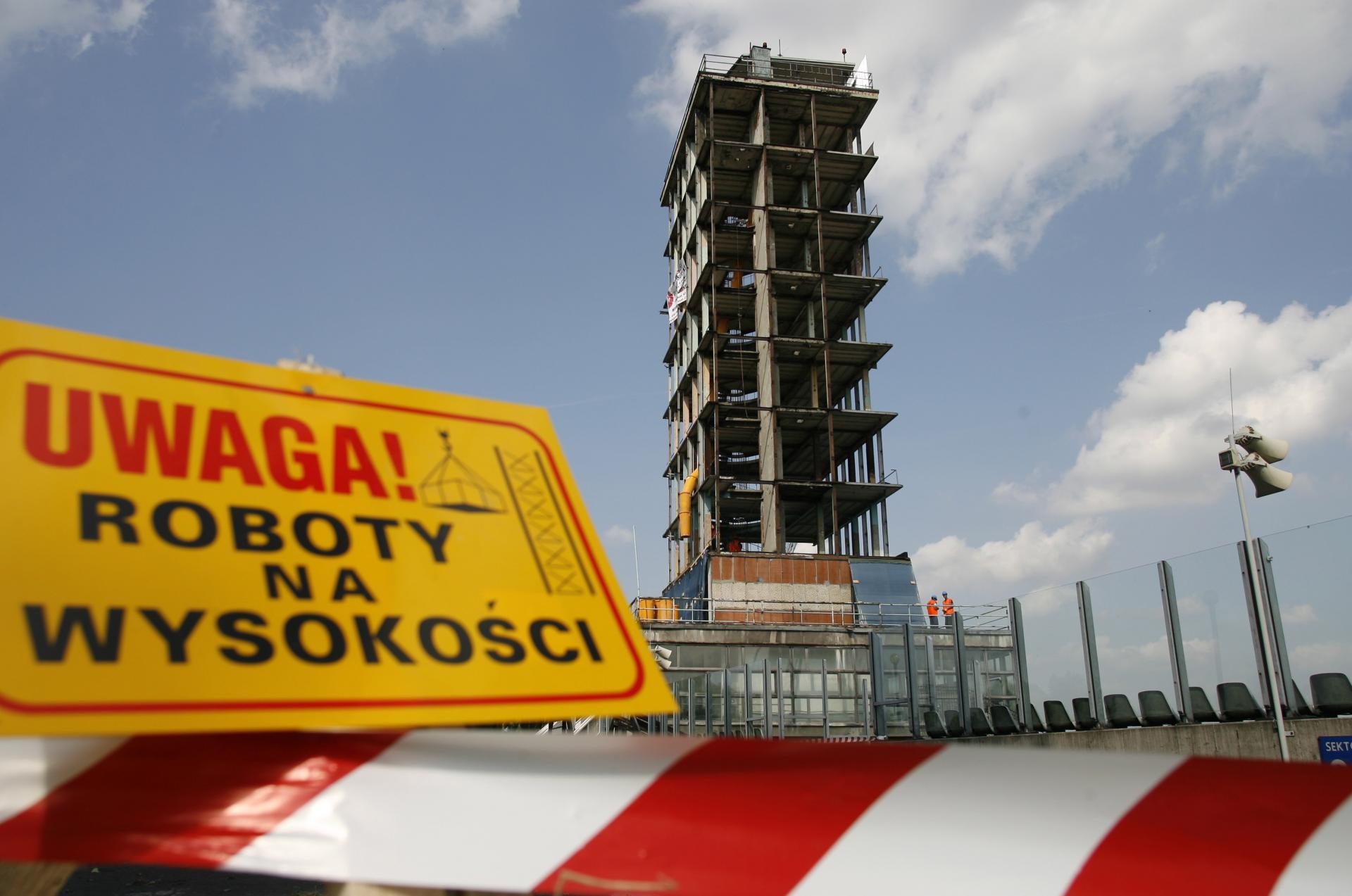 Szkielet wieży na Stadionie Śląskim.