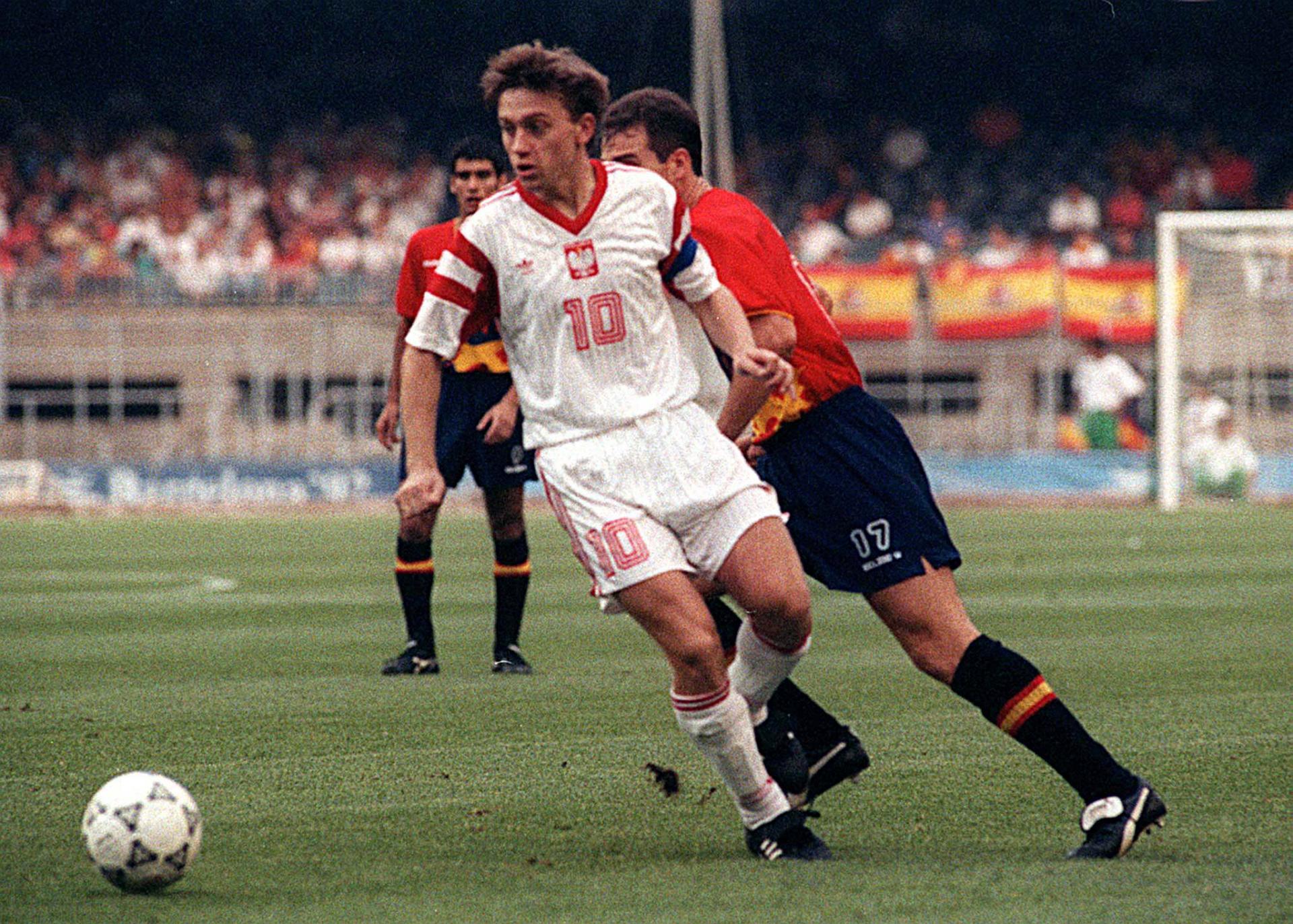Jerzy Brzęczek podczas finału igrzysk olimpijskich w 1992 roku w Barcelonie (2:3 z Hiszpanią).