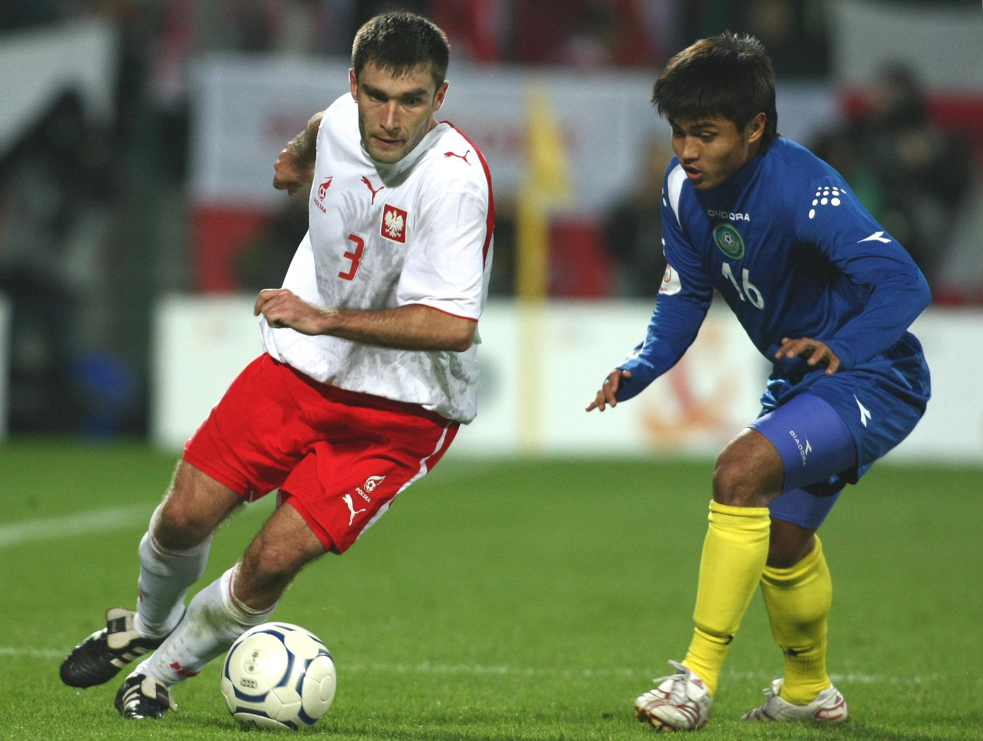 Grzegorz Bronowicki podczas meczu Polska - Kazachstan 3:1 (13.10.2007).