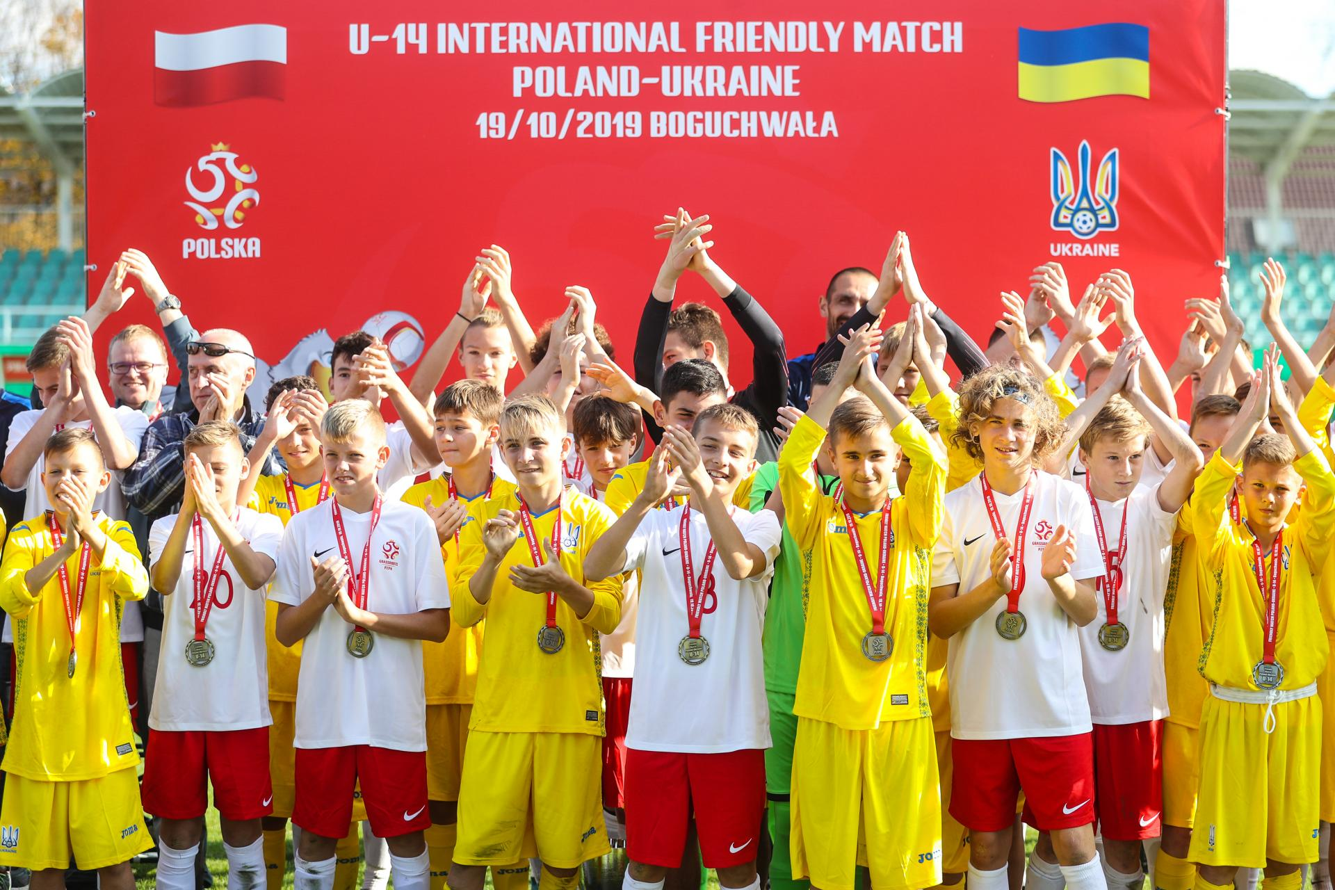 Dekoracja po meczu Polska - Ukraina 5:0 U-14 (19.10.2019).