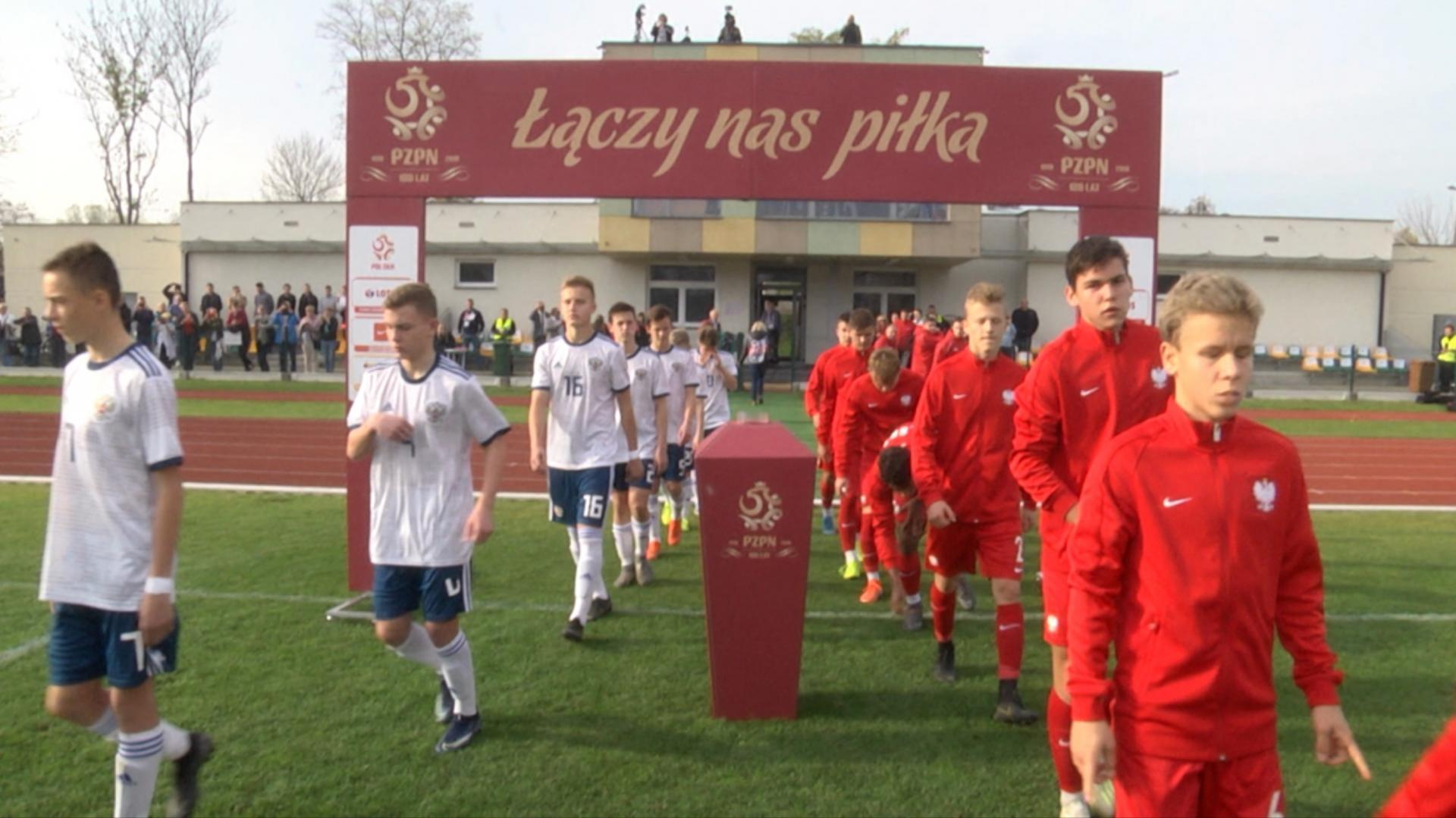 Kadr z meczu Polska - Rosja 1:2 U-15 (21.10.2019).