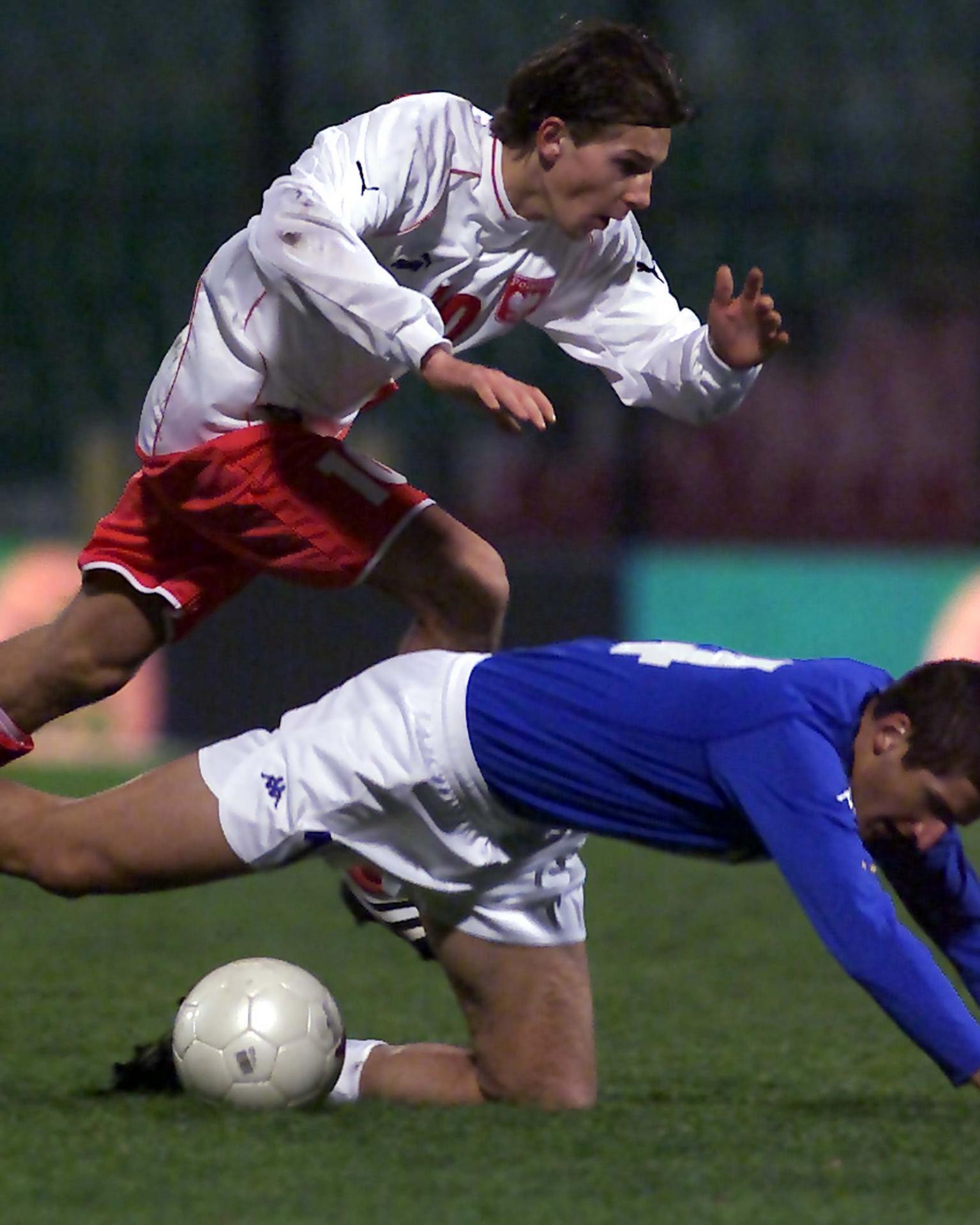 Euzebiusz Smolarek podczas meczu Polska - Włochy 2:5 U-21 (10.11.2001).