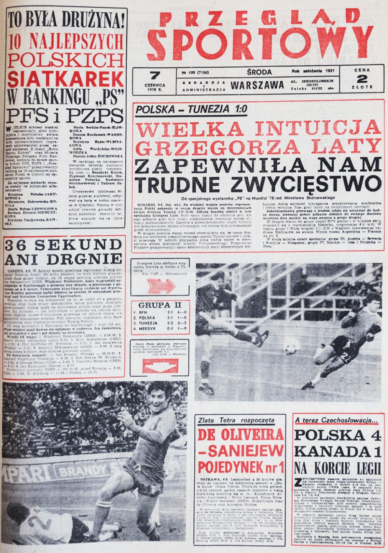 Okładka przeglądu sportowego po meczu Polska - Tunezja (06.06.1978)