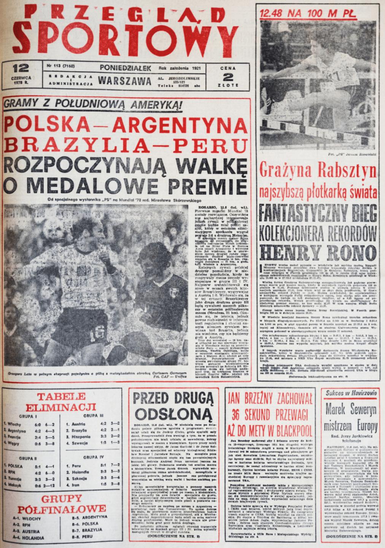 Okładka przeglądu sportowego po meczu Polska - Meksyk (10.06.1978)