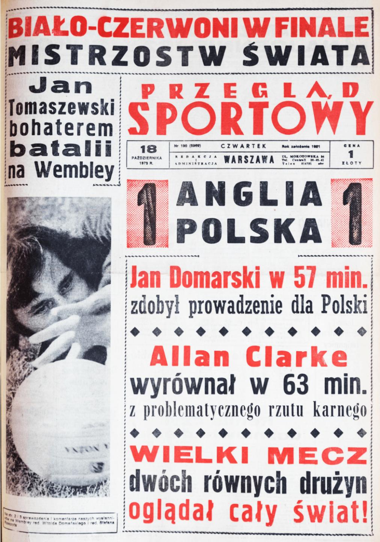 Okładka przeglądu sportowego po meczu Anglia - Polska (17.10.1973)