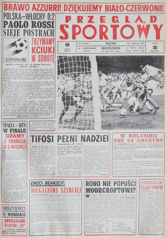 Okładka przeglądu sportowego po meczu Polska - Włochy (08.07.1982)