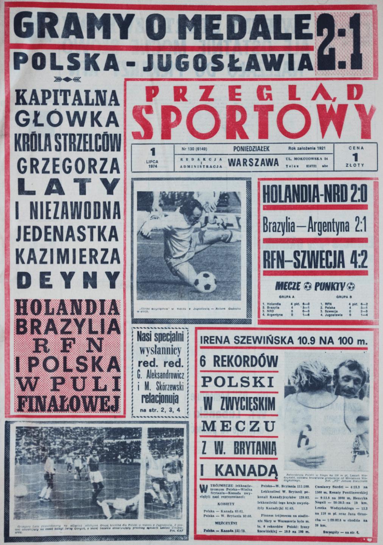Przegląd Sportowy po meczu Polska - Jugosławia (30.06.1974)