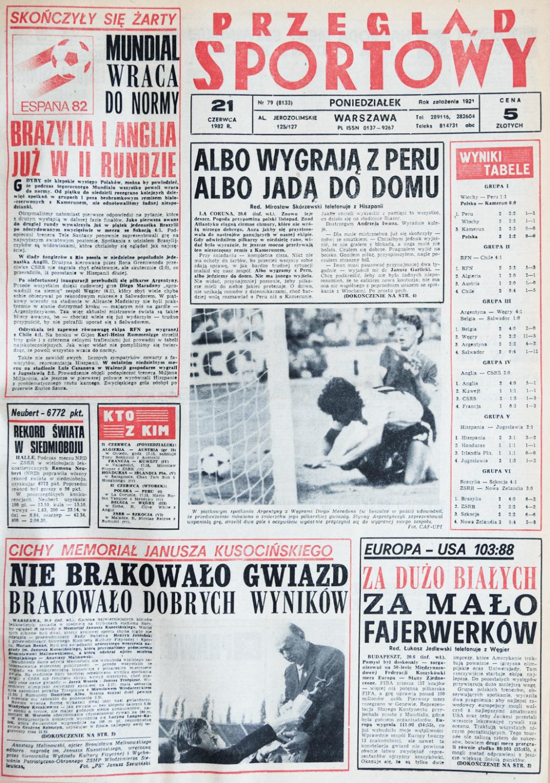 Przegląd Sportowy - po meczu z Kamerunem 19.06.1982