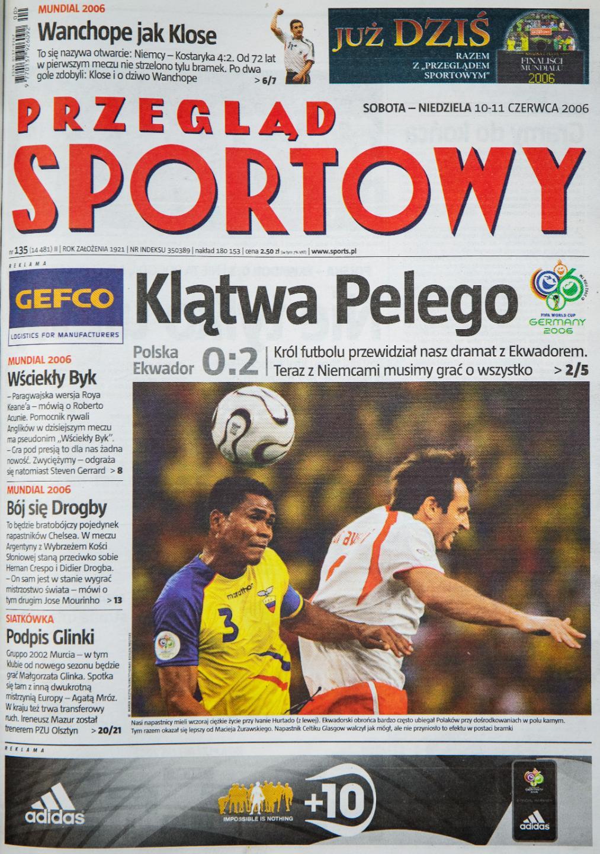 Okładka przeglądu sportowego po meczu Polska - Ekwador (9 czerwca 2006)