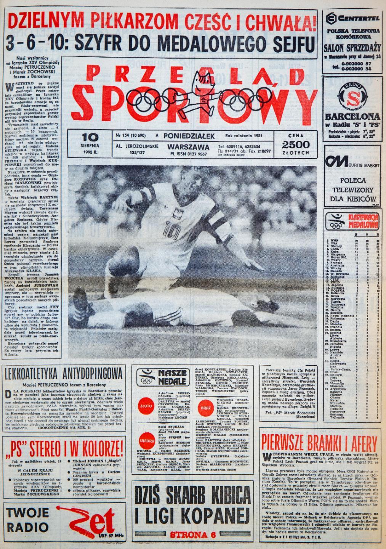 Okładka przeglądu sportowego po meczu Polska - Hiszpania finał Igrzysk Olimpijskich (9 sierpnia 1992)