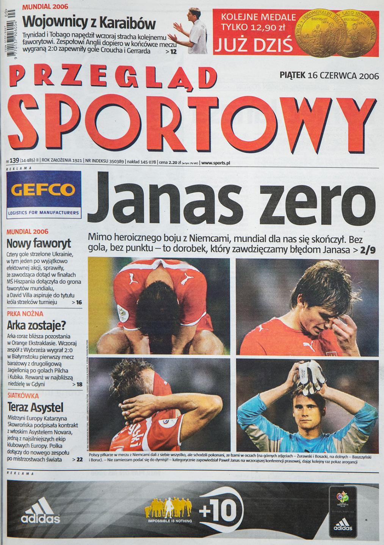 Okładka przeglądu sportowego po meczu Polska - Niemcy (15.06.2006)