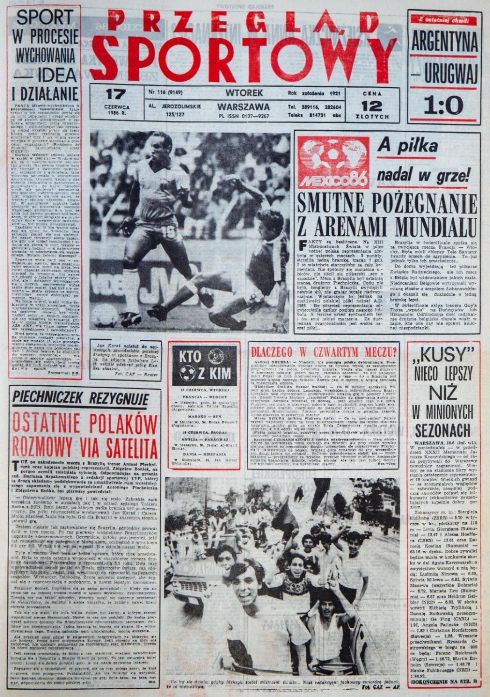 Okładka przeglądu sportowego po meczu Polska - Brazylia (16.06.1986)