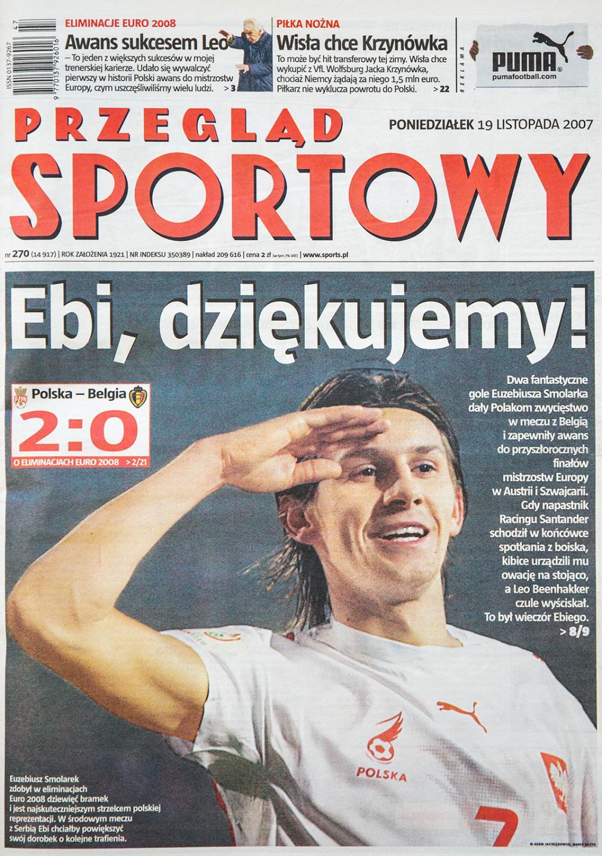Okładka przeglądu sportowego po meczu Polska - Belgia (16 listopada 2007)