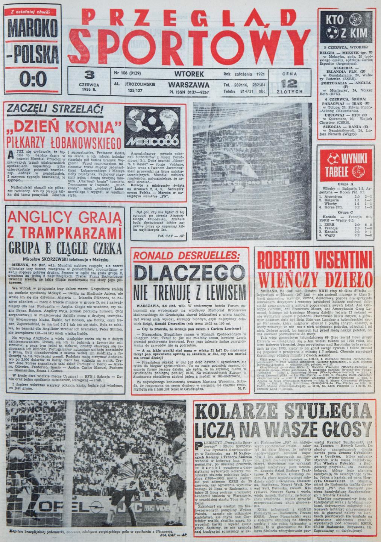 Okładka przeglądu sportowego po meczu Polska - Maroko (2 czerwca 1986)