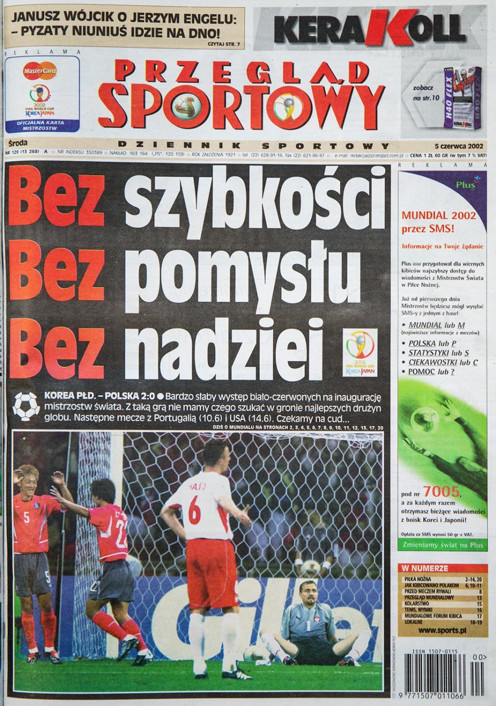 Okładka przeglądu sportowego po meczu Polska - Korea Płd. (4 czerwca 2002)