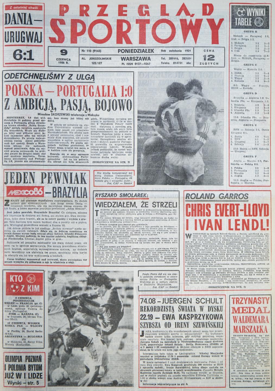 Okładka przeglądu sportowego po meczu Polska - Portugalia (7 czerwca 1986)
