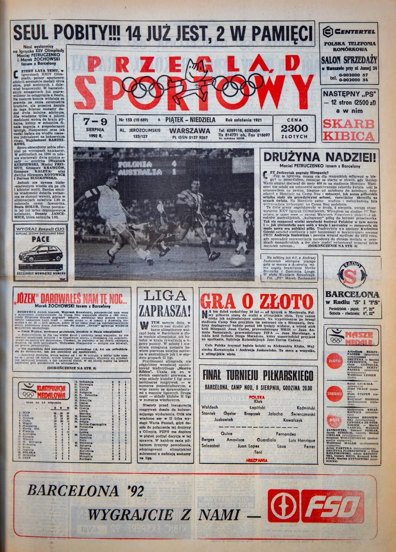 Okładka przeglądu sportowego po meczu Polska - Australia 06.08.1992