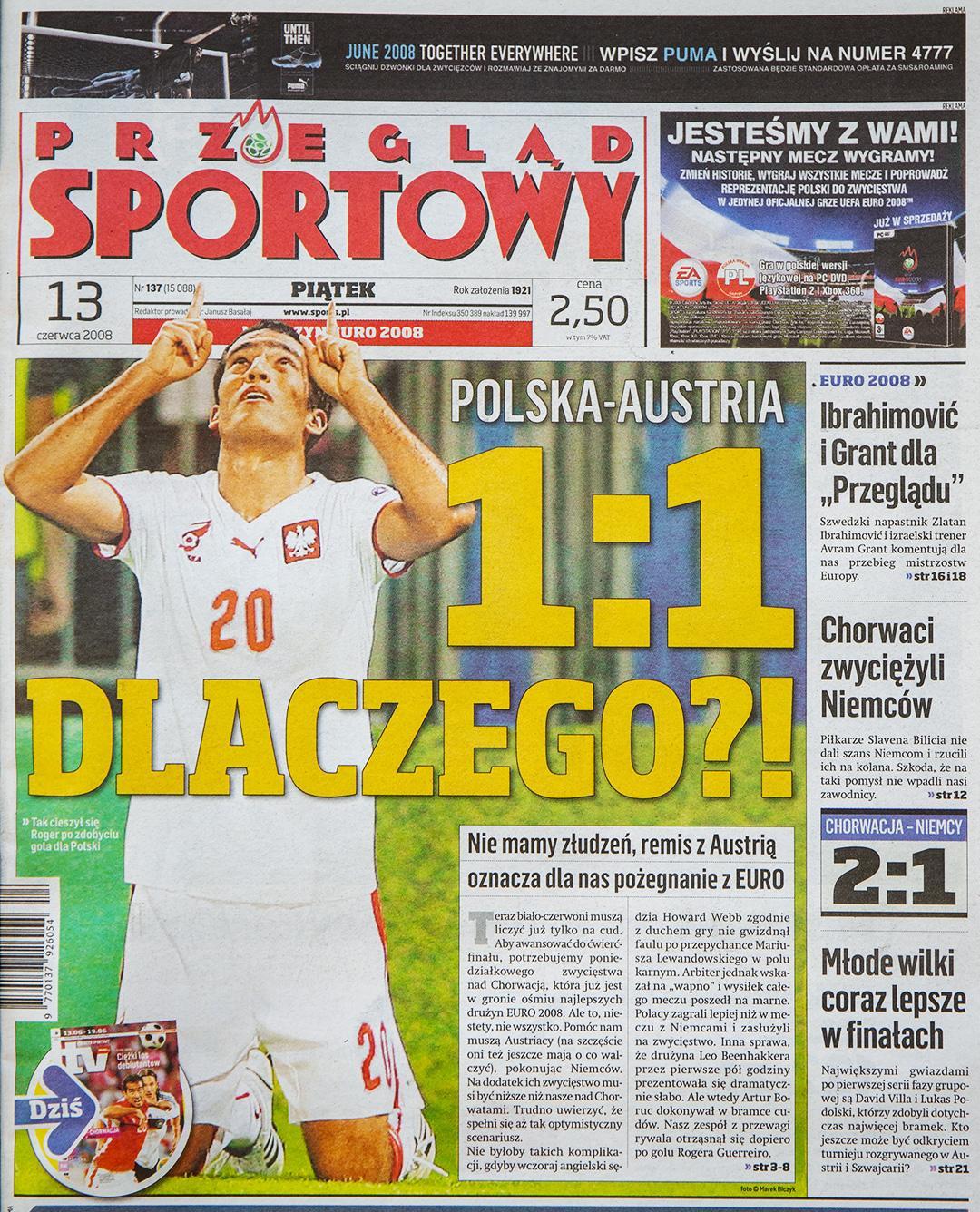 Okładka przeglądu sportowego po meczu Austria - Polska (12.06.2008)