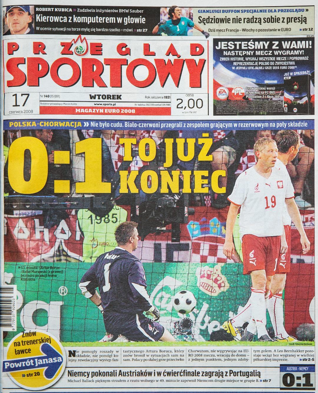 Okładka przeglądu sportowego po meczu Polska - Chorwacja (16.06.2008)