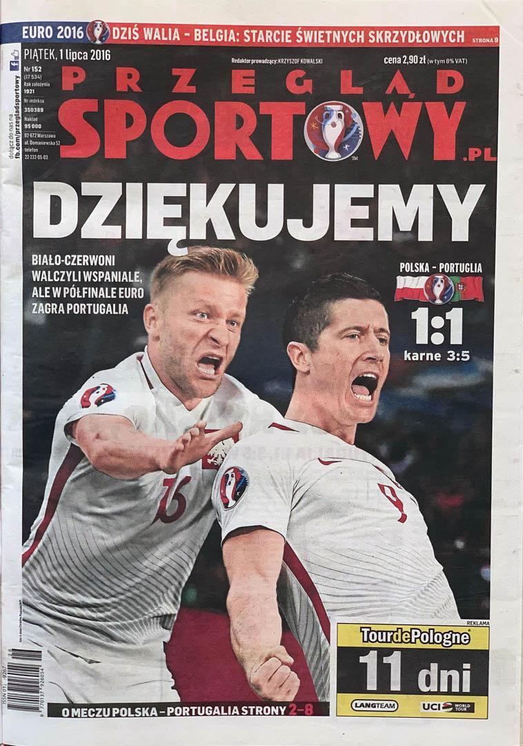 Okładka przeglądu Sportowego po meczu Polska - Portugalia (30.06.2016)