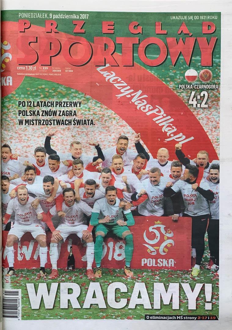 Okładka przeglądu sportowego po meczu Polska - Czarnogóra (09.10.2017)