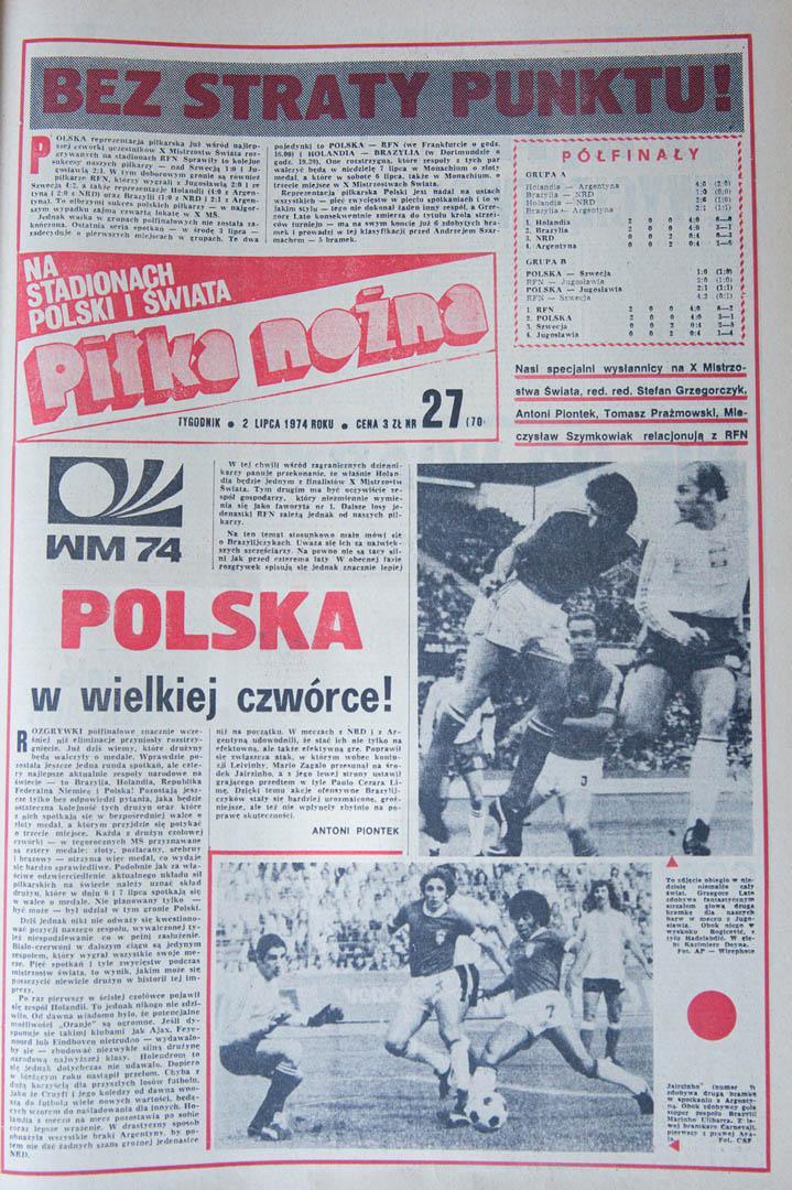 Okładka Piłki Nożnej z 02.07.1974 (po meczu z Jugosławią)