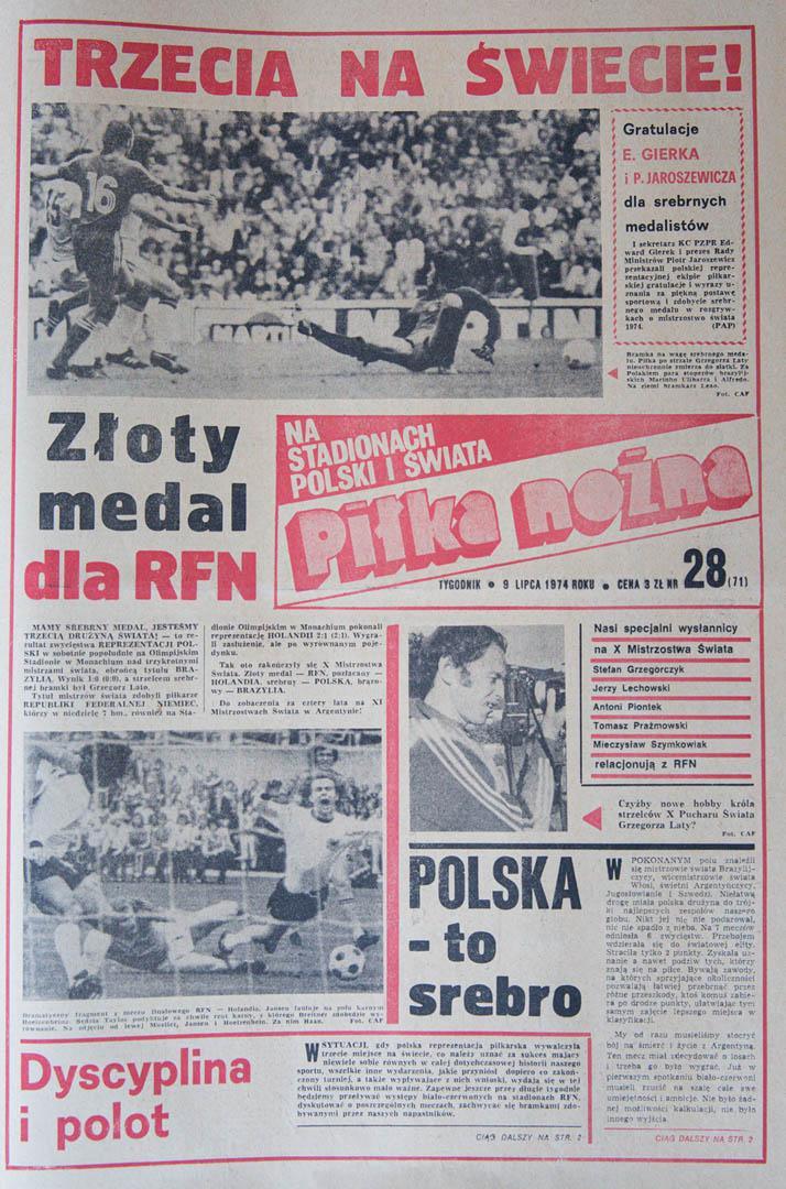 Okładka Piłki Nożnej po meczu Polska - Brazylia (08.07.1974)