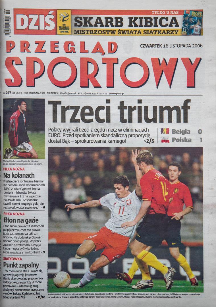 Okładka przeglądu sportowego po meczu Belgia - Polska (15.11.2006)
